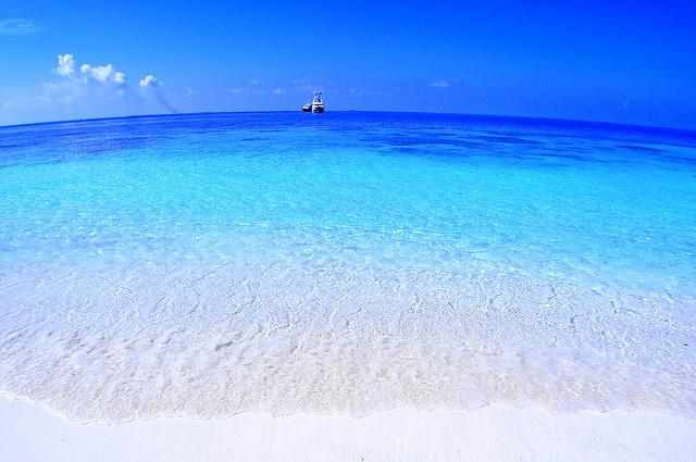 まるでグラデーションのような配色のモルディブの海