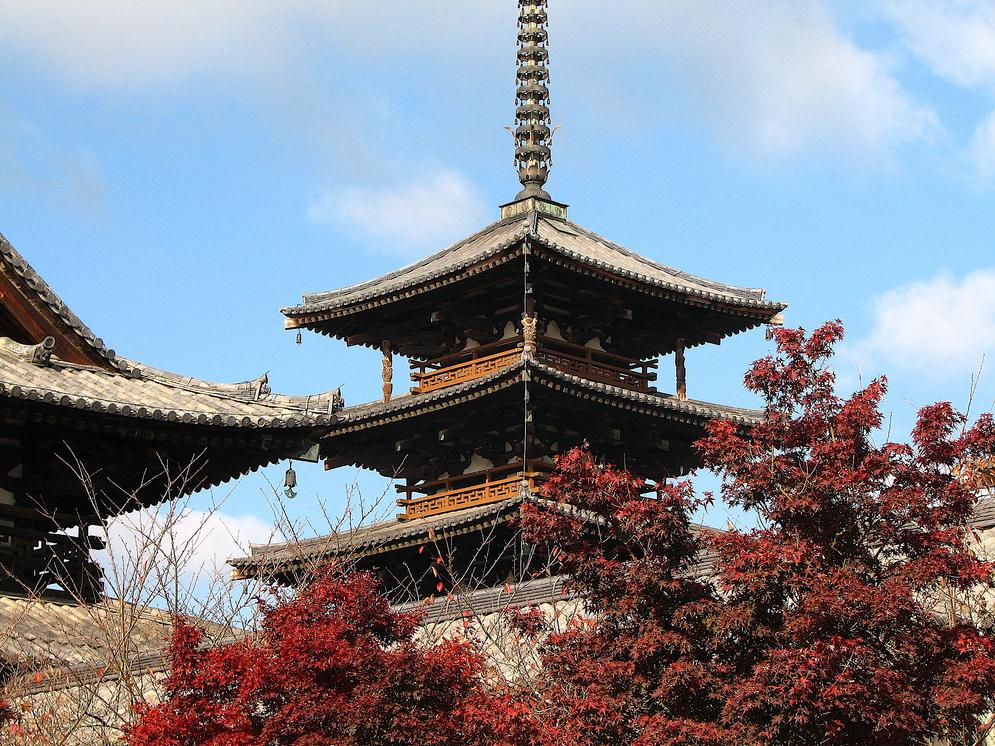 340位法隆寺地域の仏教建造物の絶景画像